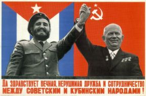 Vintage Russian poster - Khrushchev and Fidel